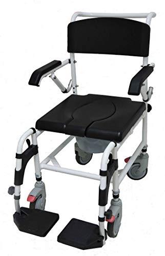FabaCare Dusch- Toilettenrollstuhl Atlantic, bis 136 kg, Premium Toilettenstuhl, Duschstuhl fahrbar, Rollstuhl mit WC Eimer