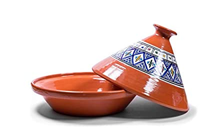 Kamsah Hand Made and Hand Painted Tagine Pot | Moroccan Ceramic Pots For Cooking and Stew Casserole Slow Cooker (Large, Bohemian Blue)