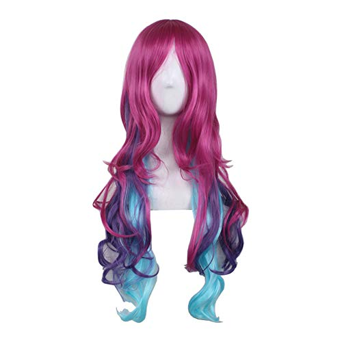 WeeH Women Girls Costume Wigs Ombre Long Hair Anime Cosplay Wig Spiral Curly Wavy Wigs for Halloween Party Wedding Birthday (Rose Blue Purple)