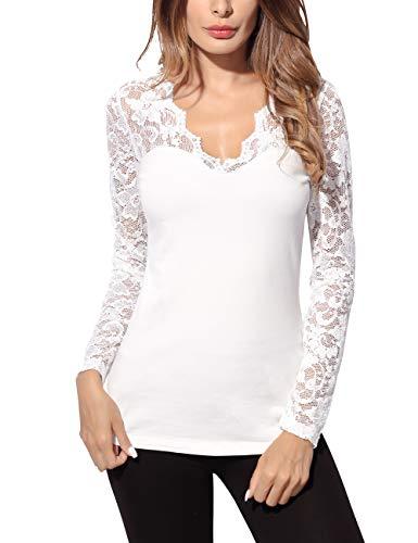 Djt Femme T-Shirt en Dentelle Pull-Over Col V Hauts Tops Manches Longues Beige XL