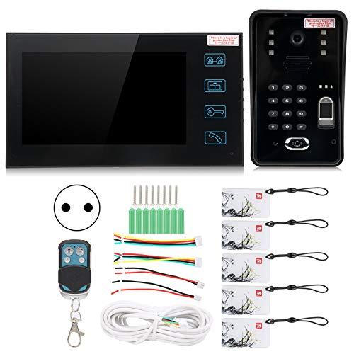 Videoportero, Videoportero con visión nocturna, Control remoto con tarjeta de identificación con contraseña de huellas dactilares, Control de acceso de seguridad, Intercomunicador de manos(Blue)