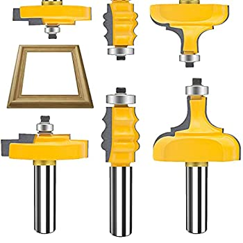 TAIWAIN Router Bit Set Picture Frame Bits 1/2 Inch Shank 3PCS Miter Frame Molding Wood Milling Cutter Router Woodworking Miter Carbide CNC Cutting Tool User& DIY Beginner F-Picture Frame