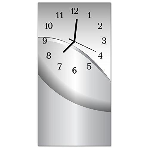 DekoGlas Glasuhr \'Muster Grau\' Uhr aus Echtglas, eckig große Motiv Wanduhr 30x60 cm, lautlos für Wohnzimmer & Küche
