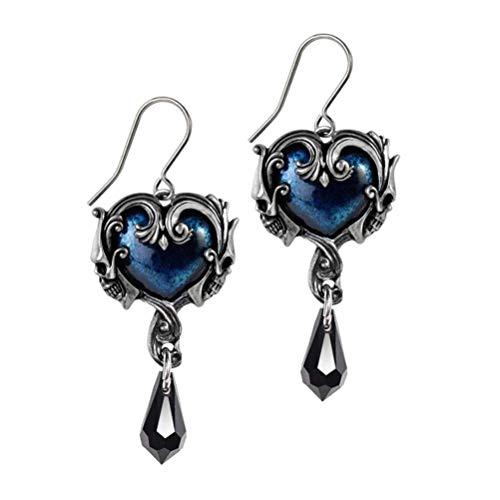 Alchemy Gothic England Affaire du Coeur Crystal Blue Enamel Baroque Skull Dropper Earrings