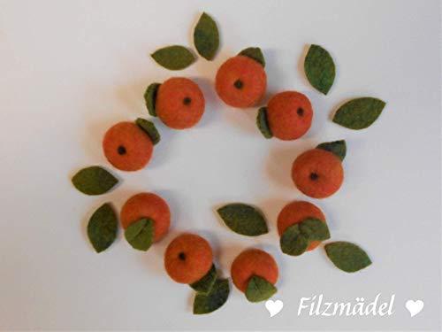 Apfel, Filz, 9 Stück im Set, ca. 3 cm und 9 Blätter