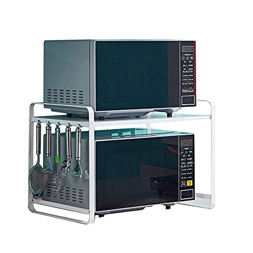 Estantería multifuncional de cocina para microondas, con 5 ganchos, resistente al desgaste, soporte para microondas de 2 capas que ahorra espacio (carga máxima de 10 kg).
