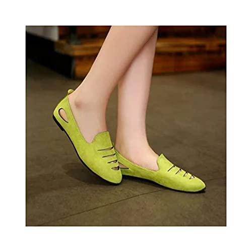 HaoLin Zapatos Tipo Guisante para Mujer, Zapatos Casuales de Barco Plano, Cómodos, Mocasines para Caminar, Zapatillas Transpirables de Cuña Baja,Green-36EU