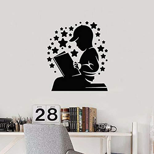 Niño leyendo calcomanía de pared libro cielo estrellado etiqueta de vinilo biblioteca para niños sala de lectura librería habitación para niños interior arte decorativo mural