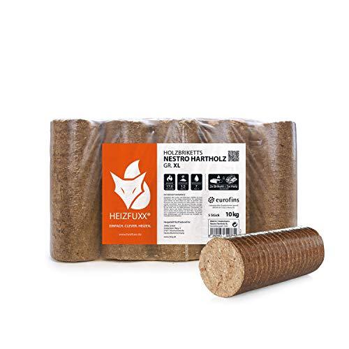 HEIZFUXX Holzbriketts Hartholz Nestro XL Kamin Ofen Brenn Holz Heiz Brikett 10kg x 3 Gebinde 30kg / 1 Karton Paligo