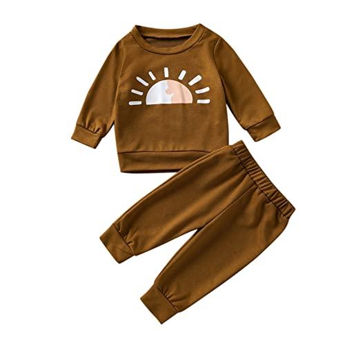 TT- Kleinkind Baby Mädchen Herbst Winter Kleidungset,2PCS Langarmshirts mit Sonne Drucken T-Shirt Pullover + Hosen Pants Sporthosen Trainingsanzug Outfits Sweatsuit Clothes Sets (Braun, 18-24Months)