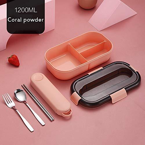 HULDORO Boîte à Lunch en plâtre, composé de Couverts de boîtes à Lunch, boîte à Couverture à Micro-Ondes Chauffant Une boîte à Lunch Portable, Boîte à déjeuner (Color : Pink, Size : 1-2L)