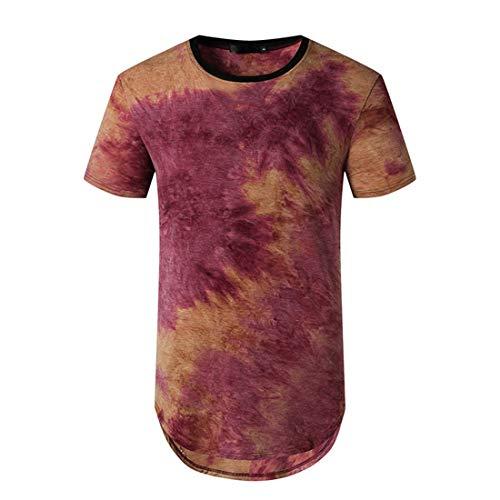 Camiseta Hombre Verano Moderno Clásica Moda Cuello Redondo Hombre Deportiva Camisa Único Tie Dye Estampado Ajuste Regular Shirt Aire Libre Deporte Casual All-Match Manga Corta D-Red XL