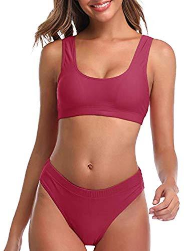 CORAFRITZ Tankini, bikini de cintura alta para mujer, traje de baño con control de abdomen, bañador con tirantes push up