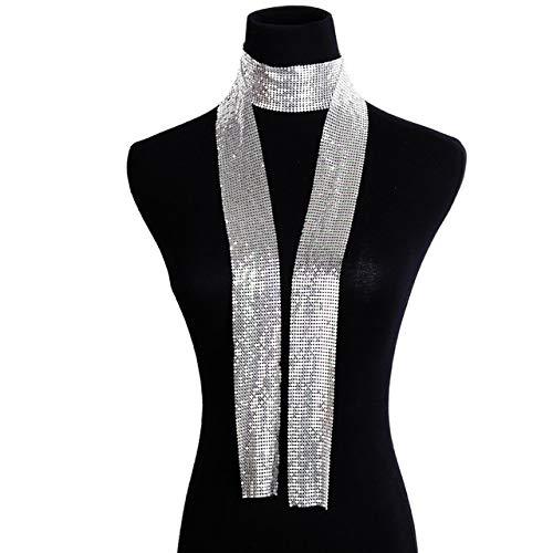 ZYJ Vintage Aluminium Net Choker Ketting Kraag Statement Kleurrijke Pailletten Lange Ketting Sjaal voor Vrouwen Sieraden Choker Kettingen|