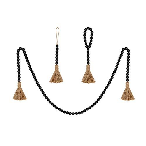 BlueMake 3 Pack Wood Bead Garland with Tassel,Rustic Wooden Bead Decor Farmhouse Beads Big Wall Hanging Decor (Black)
