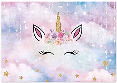 Allenjoy 5x3ft Sliver Magic Unicorn Backdrop Watercolor Flowers Gold Stars Girl 1st Birthday Party Banner Baby Shower Supplies Photography Background Dessert Table Decorations Props Photo Studio Booth