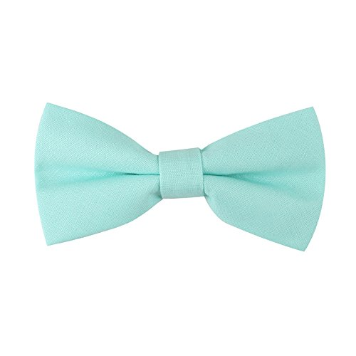 Blush Aqua Bow Ties Linen Neckties | Wedding Bowties for Groomsmen (Bow Tie, Blush Aqua)