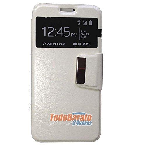 Todobarato24h Funda Libro Ventana Compatible con Samsung Galaxy Grand Neo Plus Blanca
