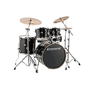 "Ludwig Element Evolution 5-piece Complete Drum Set with Zildjian I Cymbals - 22"" - Black Sparkle"