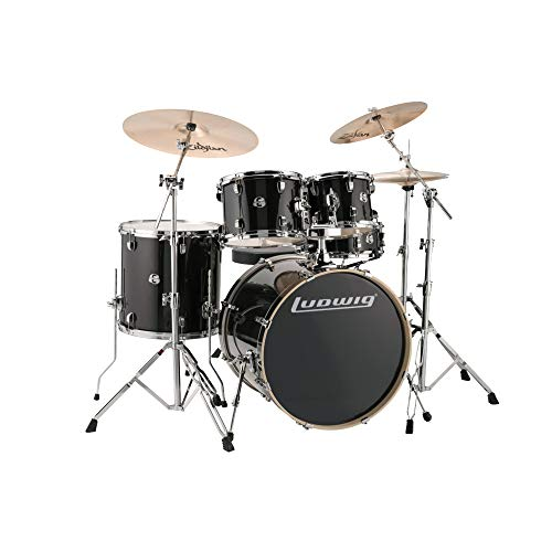Ludwig Element Evolution LCEE220 5-piece Complete Drum Set with Zildjian Cymbals - BlackBlack Sparkle