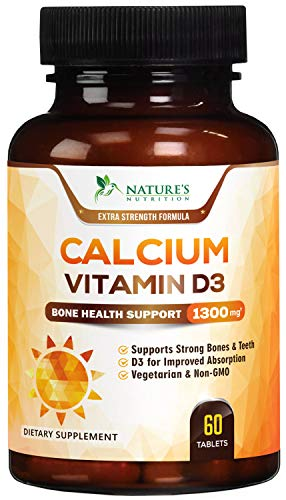 Calcium Supplement with Vitamin D3 Extra Strength 1300mg - Calcium Carbonate to Support Strong Bones & Teeth, Highly Absorbable Pills...
