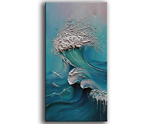 YaSheng Art - sea landscapes Abstract Oil Painting,Oil Painting on Canvas Texture Blue Ocean scenery Oil Painting Hand-Painted Abstract Artwork Pictures Canvas Wall Art Paintings 24x48inch