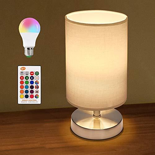 Tischlampe, Nachttischlampe mit Fernbedienung, E27 Dimmbar Lampenschirm Lampe, KWODE Tischleuchte mit Fassung & Kabel, LED Tischlampe Stoffschirm für Schlafzimmer, Wohnzimmer, Hotel, Café