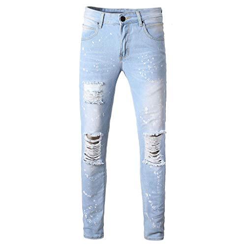 Jean Classic Regular Fit Fashion Skinny Jeans Distressed Slim Elastic Jeans Denim Biker Jeans Mens (38,1- Light Blue)