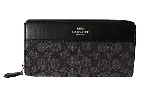 Coach Signature Outline Accordion Zip Wallet - Black Smoke/Black