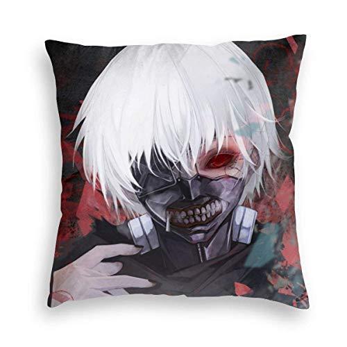 Hancal Tokyo Ghoul Bloody Funny 100% Puro tamaño de la Funda de Almohada para la Piel y el Cabello Ocultos, Ambos Lados Funda de Almohada de Tela Transpirable para la Cama del hogar
