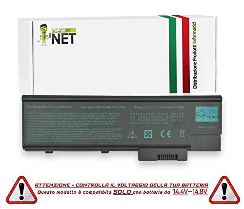 New Net - Batteria da 5200mAh Compatibile con Notebook Acer TravelMate 2313WLM 2313WLMi 2314 2314WLMi 2318 2318NWLMi 2318WLM 2318WLMi 4000 4000LCi 4000LMi 4000NLCi 4000WLCi. 4000WLMi 4001 4001LC