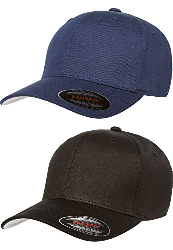 Premium Original Flexfit V-Flexfit Cotton Twill Fitted Hat 5001 2-Pack (S-M, Black/Navy)