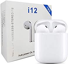 i12 TWS Earphone with Portable 300 mAh Charging Case True Wireless Earbuds with Sensor Waterproof Bluetooth v5 0 Noise Cancellation Headset for Sports Gyming Calling White