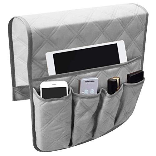 LAOZI Organizador de sofá Sofá, bolsa de almacenamiento de reposabrazos, bolsa colgante con 5 bolsillos para libros, revistas, iPad TV, mando a distancia para sofá, mesita de noche