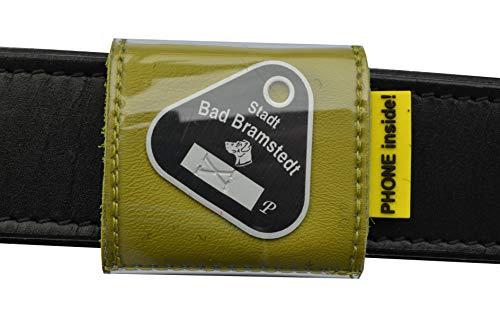 josi.li Halsbandtasche für Hundemarken bis 43x43mm, Nappaleder schadstofffrei,in 10 Farben lieferbar, mit 2 Innenfächern für bis zu 4 Hundemarken, Adresse, Telefonnummer, 50x50mm (pistaziengrün)