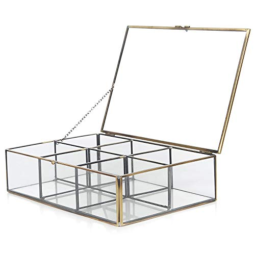 MyGift Decorative Clear Glass & Brass Metal Frame 6 Compartment Jewelry Shadow...