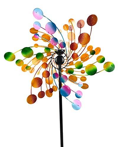 Crispe home & garden Metall Windrad 'Regenbogen' - Windspiel Windmühle für den Garten - wetterfest und standfest - mit besten Kugellagern - mit Dreibein und wahlweise Solarlampe - Höhe 185 cm