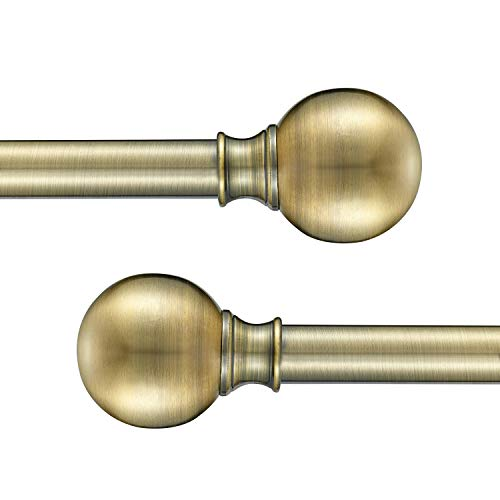 """YuMierle 2 Pack Industrial Curtain Rods, Iron Curtain Rods for Windows 28 to 48, 3/4 Inch Curtain Rods Ball Finials, Outdoor Farmhouse Curtain Rod Room Divider, 28-48"""" Antique Brass 2 Pack"""