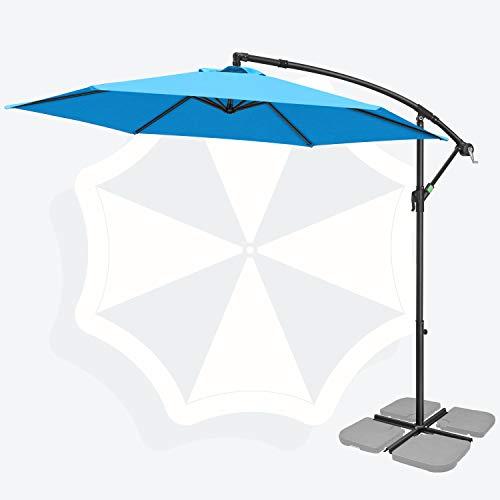 FRUITEAM 10FT Patio Offset Umbrellas Cantilever Umbrella, Large Hanging Market Umbrella Large with Crank & Cross Base, Waterproof UV Protection Outdoor Umbrella with Ventilation for Backyard/Garden