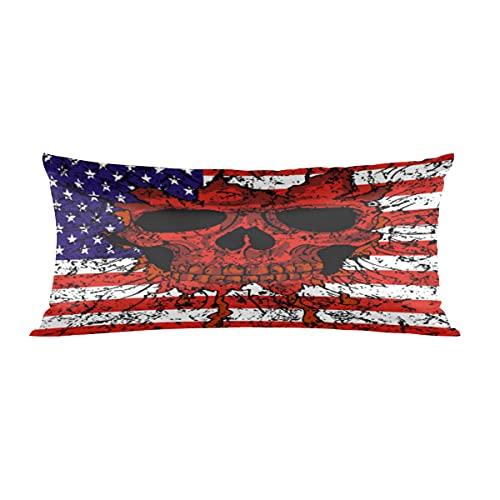Momoyu - Federa in raso con motivo bandiera degli Stati Uniti d'America, anti rughe, resistente allo scolorimento, per divano e divano con chiusura a cerniera, misura King Size 50,8 x 101,6 cm