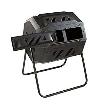 It s useful Twin Chamber Rotating Compost Bin - Dual Chamber Rolling Compost Tumbler with Sliding Door and Solid Steel Frame