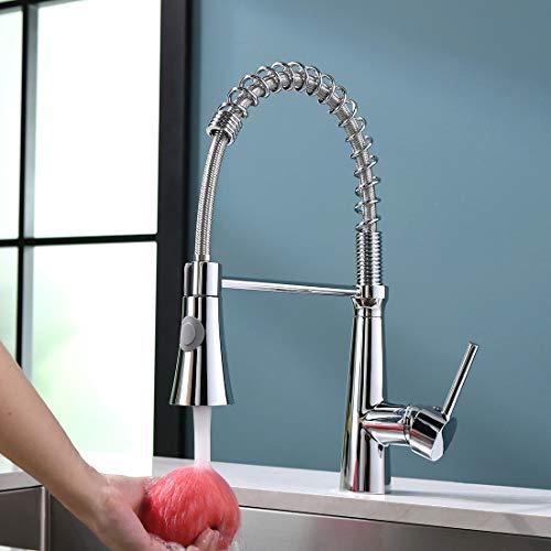 TIMACO Wasserhahn Küche Chrom 360° Drehbar Küchenarmatur mit Brause Mischbatterie Küche Armatur Küche Spiralfederarmatur