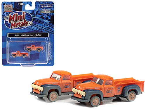 1954 Ford Pickup Trucks Gulf Oil Orange Dirty & Weathered Set of 2 Pieces 1 by 160 N Scale Model Cars - Classic Metal Works 50406