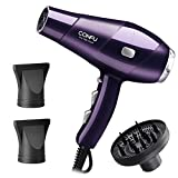 CONFU 1875W Compact Hair Dryer, Salon Ionic Blow Dryer For Fast Drying, With Hair Dryer Concentrator and Diffuser, Quiet Hair Dryer,2 Speed and 3 Heat Settings