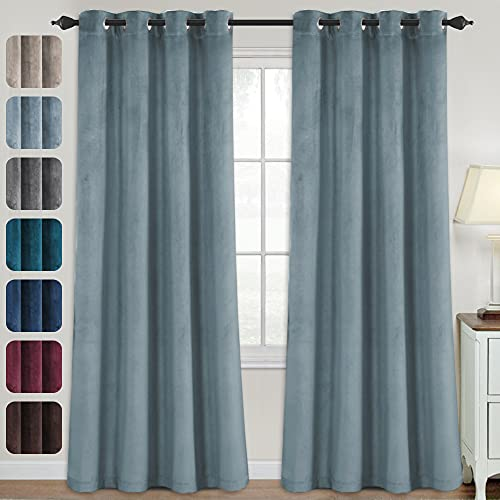Luxury Velvet Curtains for Living Room 95 Inches Room Darkening Super Thick Soft Velvet Textured Window Curtain Drapes Thermal Insulated Grommet Decoration 2 Panels, Each 52 x 95 Inch, Stone Blue