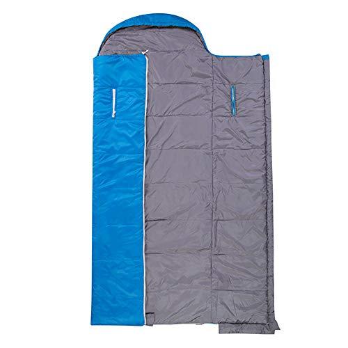 LWLPAI Slaapzak, warm, ademend, ideale kampeeruitrusting om te wandelen, slaapzak, dubbele isolatie, volwassenen slaapzak blauw