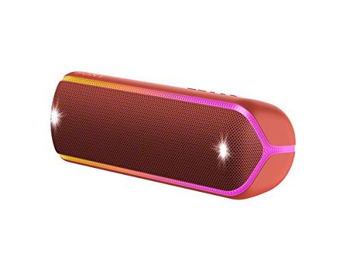 Sony SRS-XB32 kabelloser Bluetooth Lautsprecher (tragbar, NFC, farbige Lichtleiste, Extra Bass, Stroboskoplicht, wasserabweisend, kompatibel mit Party Chain, Freisprechfunktion für Anrufe) blau
