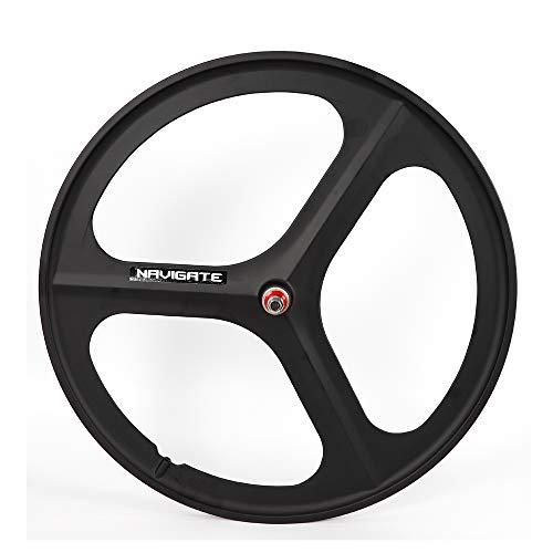 WINUS Bike Mag Wheel Set, 700C Fixed Gear(Front Rear) 17 Teeth Tri Spoke Rim Fixie Single Speed Bike Front & Rear Set White/Black (Rear Wheel Black)
