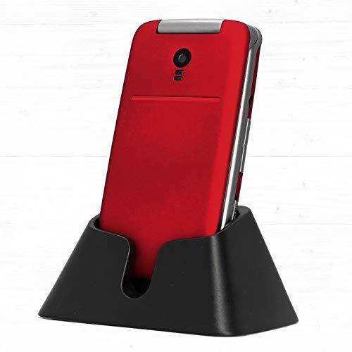 Cellulare per Anziani a Conchiglia con Tasti Grandi Funzione SOS Schermo da 2.4  Fotocamera Torcia e Base di Ricarica Telefono per Anziani Facile da Usare Rosso