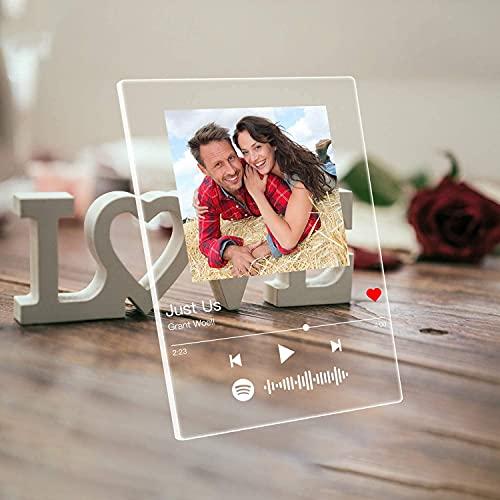 Q&K Arte de Vidrio de Spotify Personalizado Música Placa,Placa de Foto de Código de Spotify Escaneable Personalizada,Regalos para Novio, Novia, Tu Madre